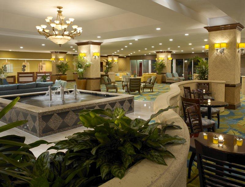 Holiday Inn Miami Beach Oceanfront Lobby in evening