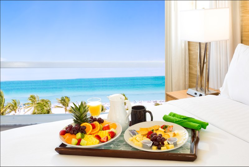Enjoy In room dining at our oceanfront hotel.