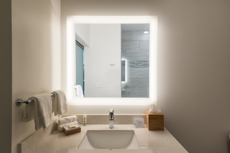 Our lighted mirrors in every bathroom