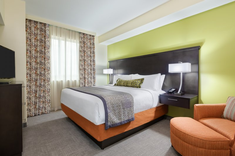 Watch TV from your comfortable king bed or from the living room.