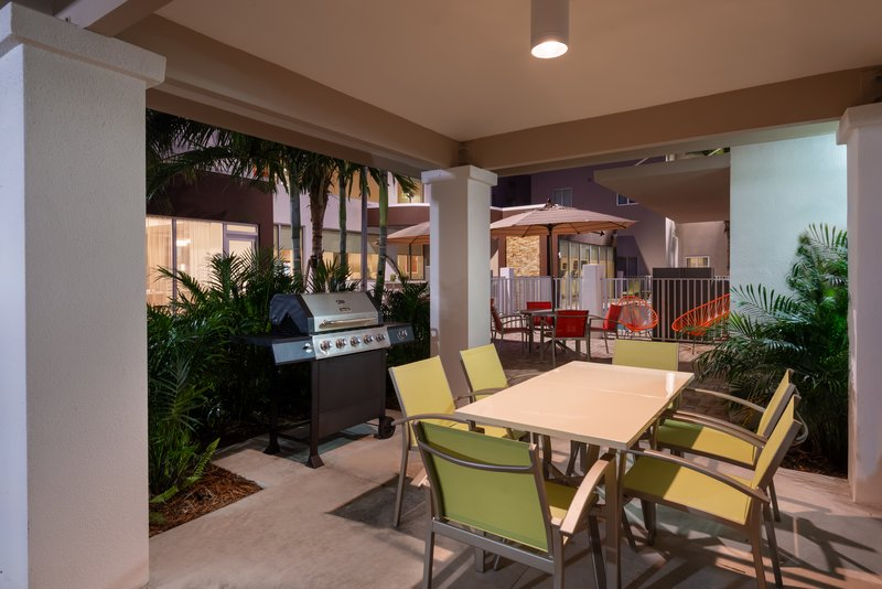 Grill up some burgers and hot dogs on our outdoor BBQ grill.