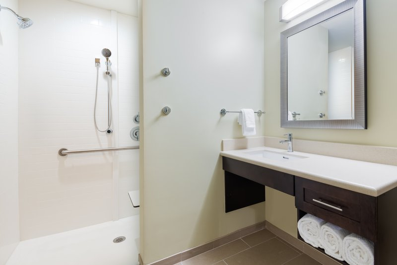 Some suites include a roll in shower with accessible features.