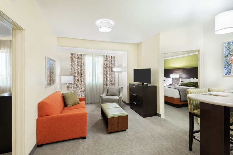 Stretch out in a 2-bedroom suite with 2 bathrooms & a living room.