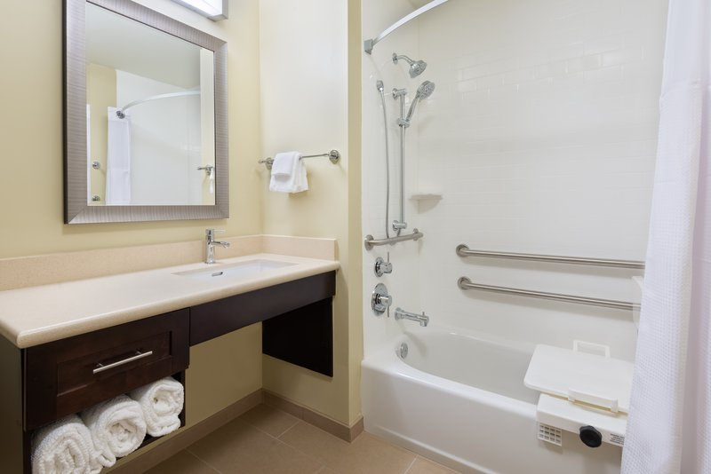Select suites feature an accessible tub with grab bars.